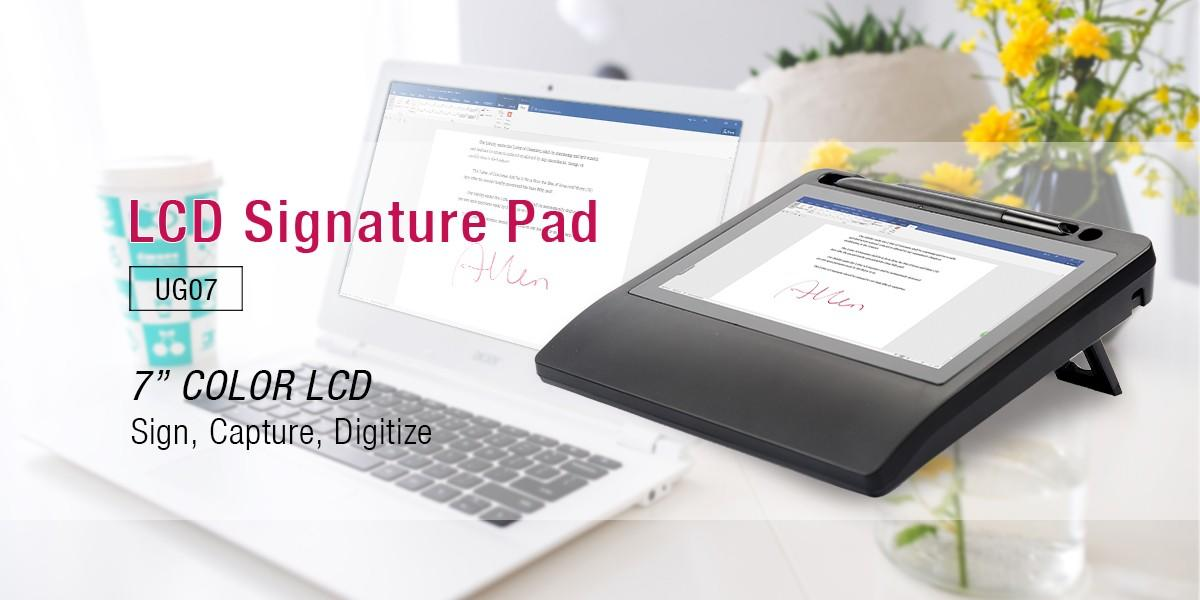 Ugee-7 Inch Tft Lcd Electromagnetic Electronic Signature Pad With Stylus Ug07